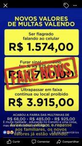 Fake News: aumento de valores de multas é mentira!